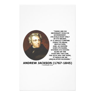 Andrew Jackson No Necessary Evils In Gov't Quote Customised Stationery