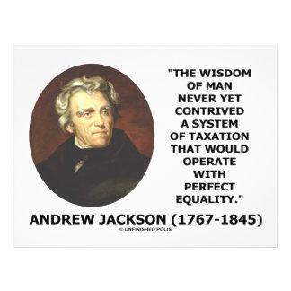 Andrew Jackson Wisdom Contrive Taxation Equality Flyers