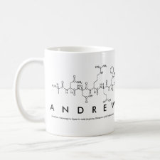 Mug featuring the name Andrew spelled out in the single letter amino acid code