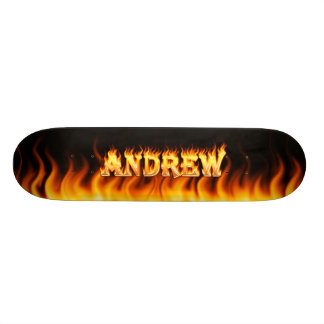 Andrew skateboard fire and flames design.