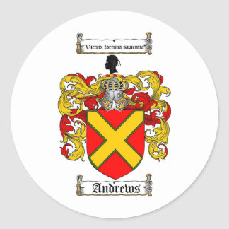 ANDREWS FAMILY CREST -  ANDREWS COAT OF ARMS ROUND STICKER
