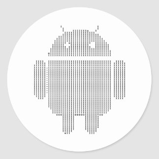 Android---Ascii black Classic Round Sticker