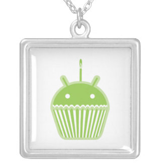 Android Cupcake Square Pendant Necklace