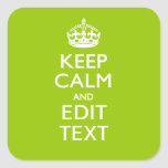 Android Green Keep Calm And Your Text Square Stickers