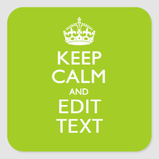 Android Green Keep Calm And Your Text Square Sticker