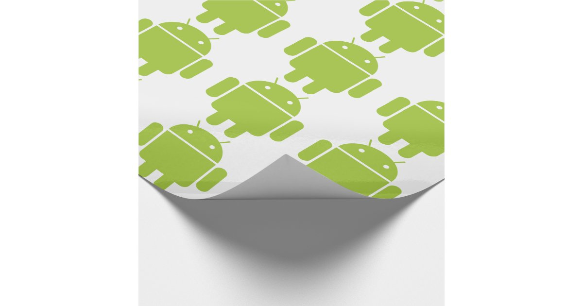 android green robot logo wrapping paper zazzlecouk