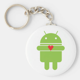 Android Love Basic Round Button Key Ring