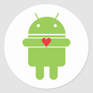 Android Love Round Stickers