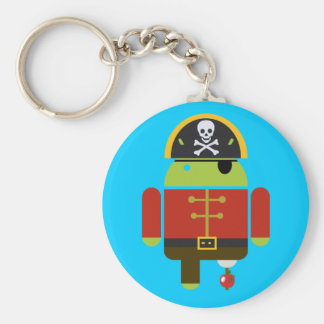 Android Pirate crushing an apple Basic Round Button Key Ring