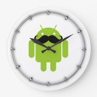 Android Robot Black Mustache Graphic Large Clock