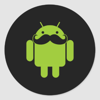 Android Robot Icon Mustache on Black Classic Round Sticker