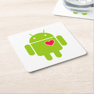 Android Robot Icon with a Heart Square Paper Coaster