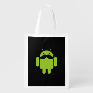Android Robot Mustache on Black Reusable Grocery Bag