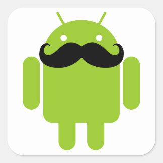 Android Robot Mustache Square Sticker