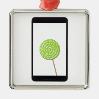 Android tablet with lollipop christmas ornament