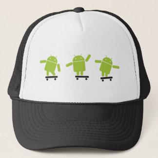 androids-skateboard trucker hat