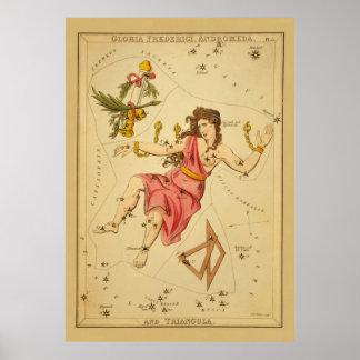 Andromeda - Vintage Astronomical Star Chart Image Poster