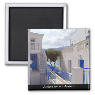Andros town - Andros Square Magnet