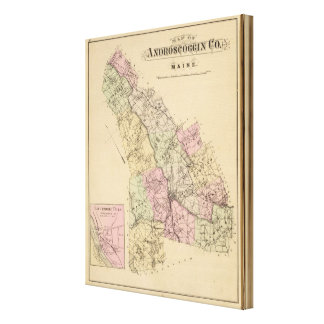 Androscoggin County, Maine Map Canvas Print