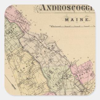 Androscoggin County, Maine Map Square Sticker
