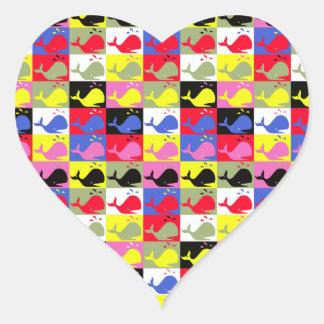 Andy Whale-Hole™_Lots o' whales heart-shaped Heart Sticker