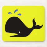 Andy Whale Singletons_black,blue on yellow Mouse Pad