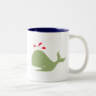Andy Whale Singletons_green,red on white Two-Tone Coffee Mug