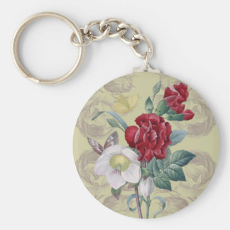 Anemone And Carnation Basic Round Button Key Ring