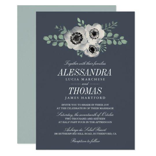 Anemone and Eucalyptus Floral Wedding Invitation