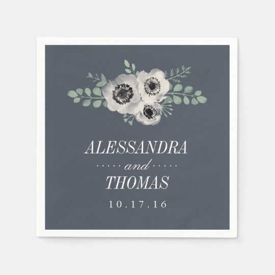 Anemone and Eucalyptus Wedding Paper Napkins