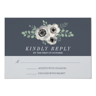 Anemone and Eucalyptus Wedding RSVP Response 9 Cm X 13 Cm Invitation Card