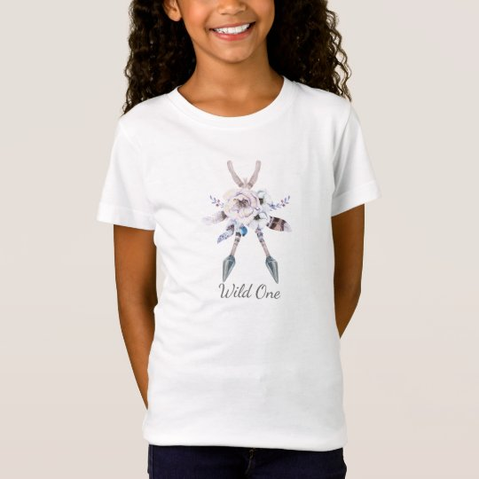 Anemone Floral Boho Bohemian Arrows Feathers Girls T-Shirt