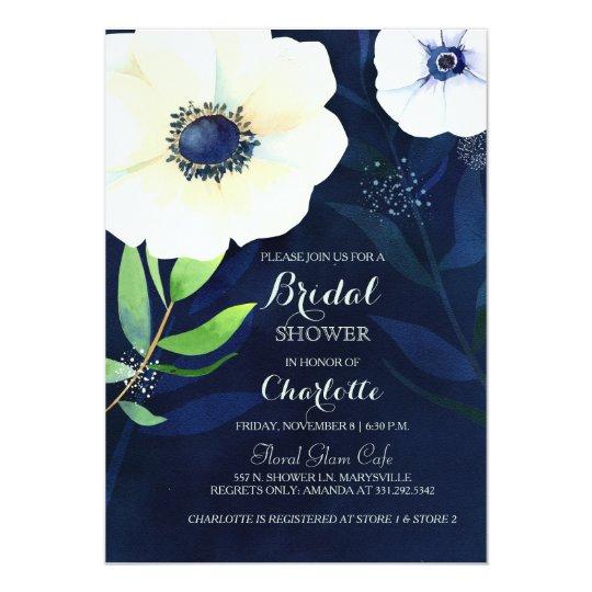 Anemone Floral Navy Blue Bridal Shower Card