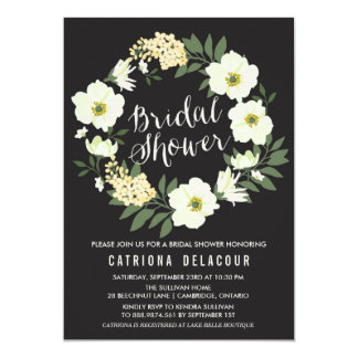 Anemone Floral Wreath Bridal Shower Invitation