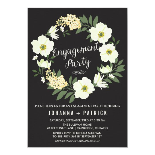 Anemone Floral Wreath Engagement Party Invitation