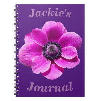 Anemone Flower Personalised Spiral Notebook