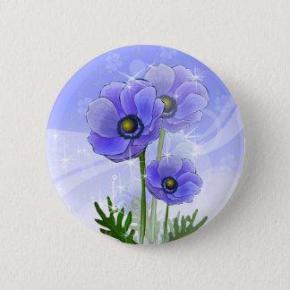 Anemone Flowers 6 Cm Round Badge