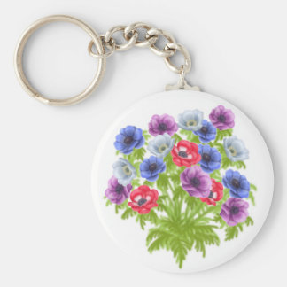 Anemone Garden Flowers Keychain