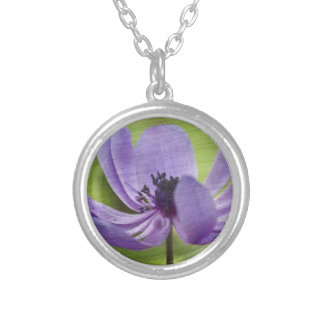 anemone in the garden silver plated necklace