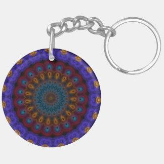 Anemone Kaleidoscope Mandala Double-Sided Round Acrylic Key Ring