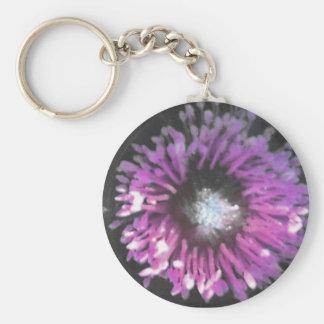anemone pink basic round button key ring