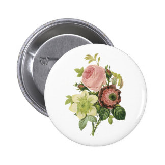 anemone, rose, clematis by Redouté 6 Cm Round Badge