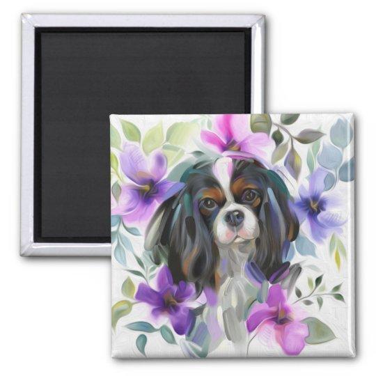 'Anemone' Tricolor cavalier dog art magnet