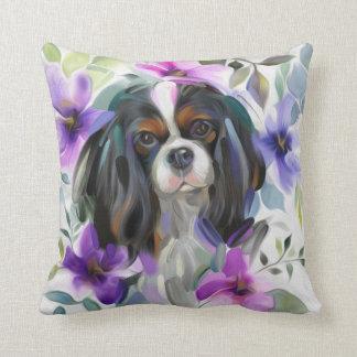 'Anemone' Tricolor cavalier dog art pillow