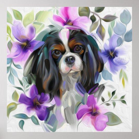 'Anemone' Tricolor cavalier dog art print