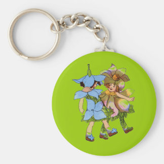 Anemones and Bluets Basic Round Button Key Ring