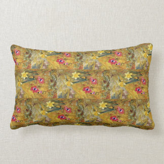 Anemones and Daffodils Henry  Newman Lumbar Cushion