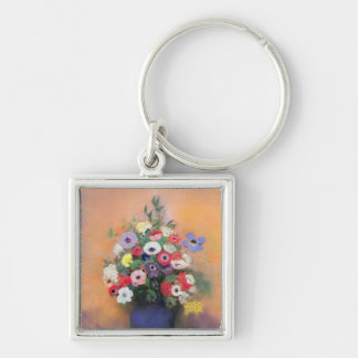 Anemones and lilac in a Blue Vase, after 1912 Silver-Colored Square Key Ring