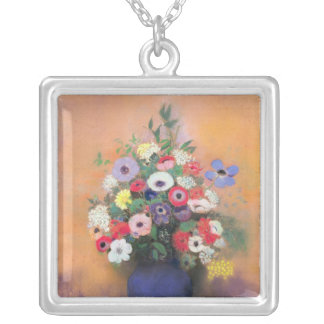 Anemones and lilac in a Blue Vase, after 1912 Silver Plated Necklace