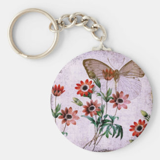 Anemones Butterfly Basic Round Button Key Ring